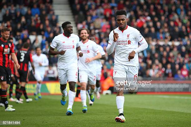 Daniel Sturridge of Liverpool celebrates after scoring his team's second goal of the game during the Barclays Premier League match between AFC...