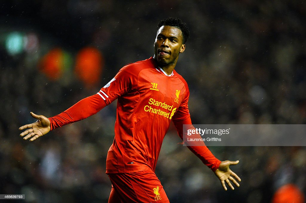 <a gi-track='captionPersonalityLinkClicked' href=/galleries/search?phrase=Daniel+Sturridge&family=editorial&specificpeople=677270 ng-click='$event.stopPropagation()'>Daniel Sturridge</a> of Liverpool celebrates after scoring his team's second goal during the Barclays Premier League match between Liverpool and Everton at Anfield on January 28, 2014 in Liverpool, England.