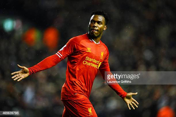 Daniel Sturridge of Liverpool celebrates after scoring his team's second goal during the Barclays Premier League match between Liverpool and Everton...