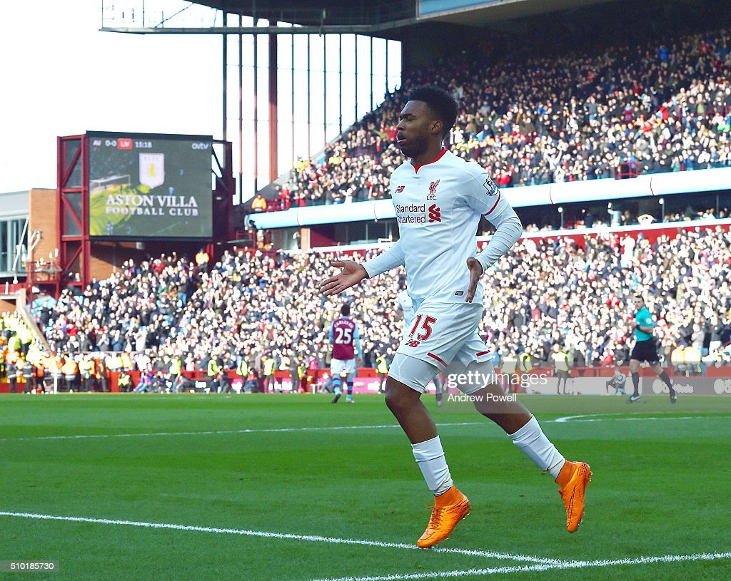 <a gi-track='captionPersonalityLinkClicked' href=/galleries/search?phrase=Daniel+Sturridge&family=editorial&specificpeople=677270 ng-click='$event.stopPropagation()'>Daniel Sturridge</a> of Liverpool celebrates after scoring the opening goal during the Barclays Premier League match between Aston Villa and Liverpool at Villa Park on February 14, 2016 in Birmingham, England.