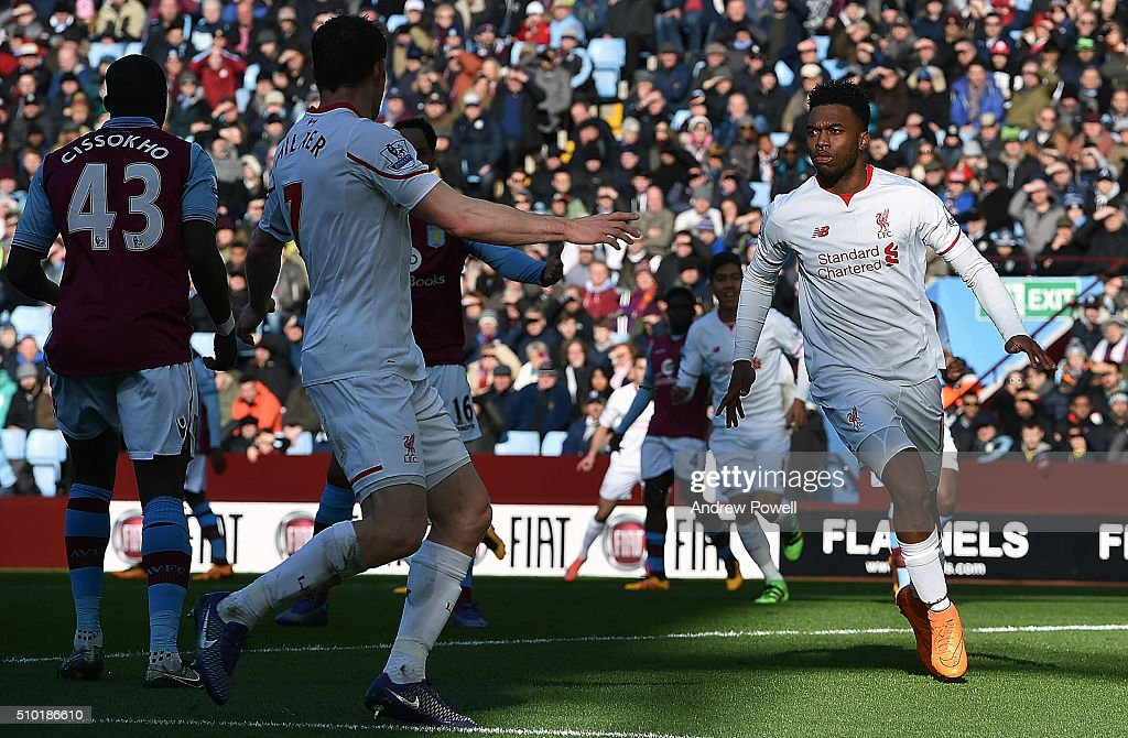 Daniel Sturridge of Liverpool celebrates after scoring the opening goal during the Barclays Premier League match between Aston Villa and Liverpool at Villa Park on February 14, 2016 in Birmingham, England.