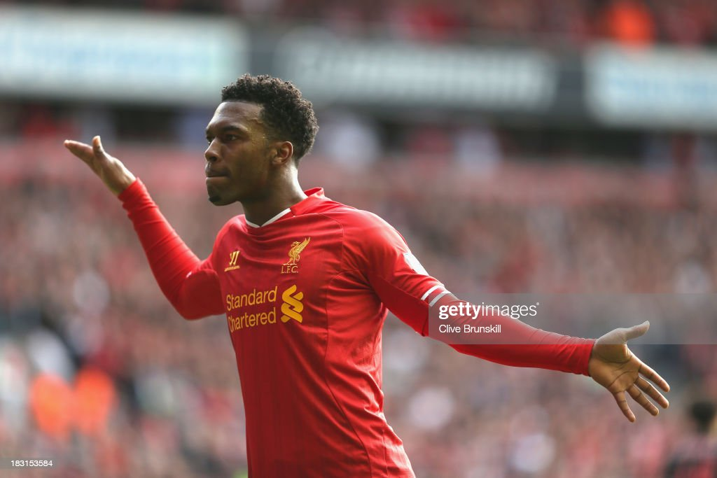 <a gi-track='captionPersonalityLinkClicked' href=/galleries/search?phrase=Daniel+Sturridge+-+Soccer+Player&family=editorial&specificpeople=677270 ng-click='$event.stopPropagation()'>Daniel Sturridge</a> of Liverpool celebrates after scoring the second goal during the Barclays Premier League match between Liverpool and Crystal Palace at Anfield on October 5, 2013 in Liverpool, England.