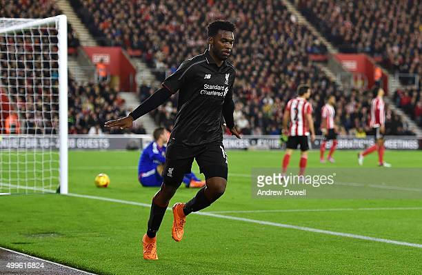 Daniel Sturridge of Liverpool celebrates after scoring the second goal during the Capital One Cup Quarter Final match between Southampton and...
