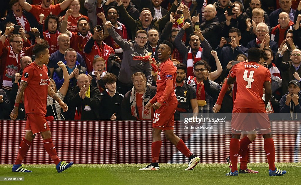 Daniel Sturridge of Liverpool celebrates after scoring the second during the UEFA Europa League Semi Final: Second Leg match between Liverpool and Villarreal CF at Anfield on May 05, 2016 in Liverpool, England.