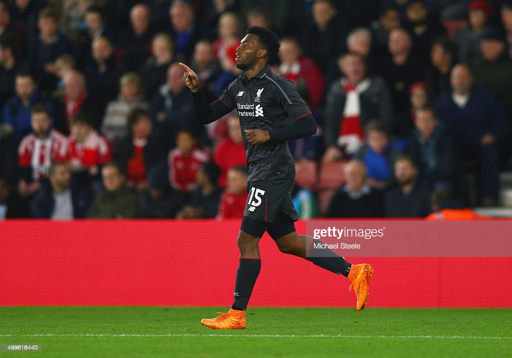 <a gi-track='captionPersonalityLinkClicked' href=/galleries/search?phrase=Daniel+Sturridge&family=editorial&specificpeople=677270 ng-click='$event.stopPropagation()'>Daniel Sturridge</a> of Liverpool celebrates as he scores their first goal during the Capital One Cup quarter final match between Southampton and Liverpool at St Mary's Stadium on December 2, 2015 in Southampton, England.