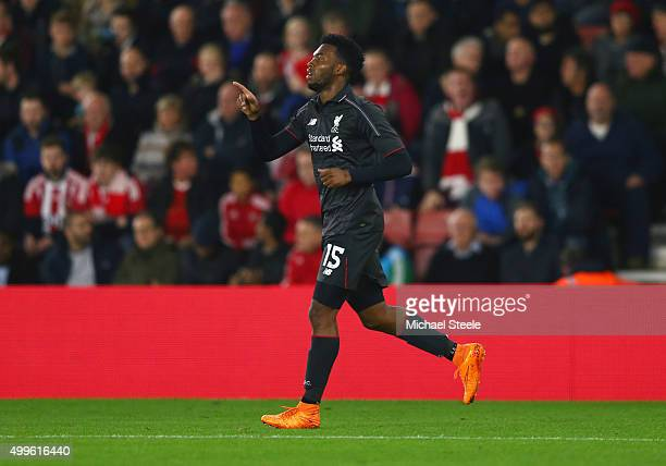 Daniel Sturridge of Liverpool celebrates as he scores their first goal during the Capital One Cup quarter final match between Southampton and...