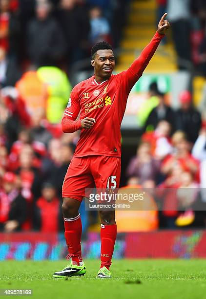 Daniel Sturridge of Liverpool celebrates as he scores their second goal during the Barclays Premier League match between Liverpool and Newcastle...