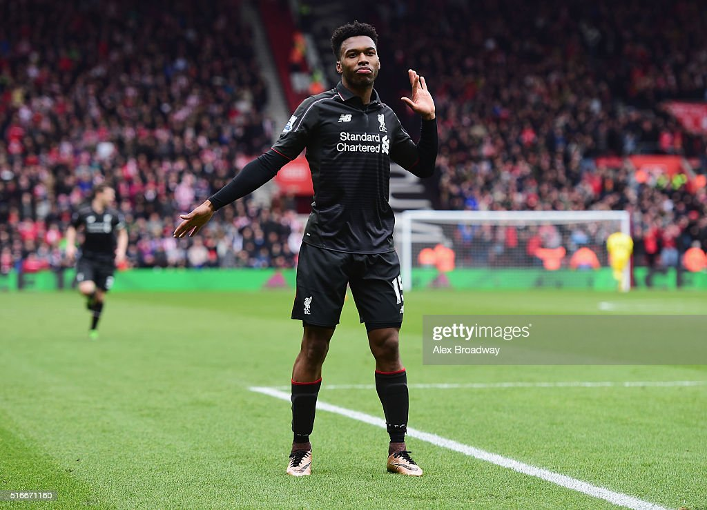 Daniel Sturridge of Liverpool (15) celebrates as he scores their second goal during the Barclays Premier League match between Southampton and Liverpool at St Mary's Stadium on March 20, 2016 in Southampton, United Kingdom.