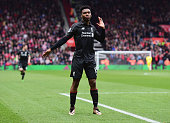Daniel Sturridge of Liverpool celebrates as he scores their second goal during the Barclays Premier League match between Southampton and Liverpool at...