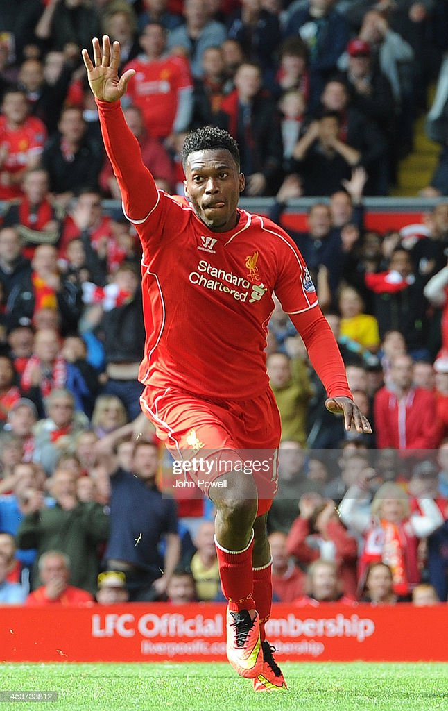 <a gi-track='captionPersonalityLinkClicked' href=/galleries/search?phrase=Daniel+Sturridge+-+Soccer+Player&family=editorial&specificpeople=677270 ng-click='$event.stopPropagation()'>Daniel Sturridge</a> of Liverpool celebrates his game winning goal during the Premier League match between Liverpool and Southampton at Anfield on August 17, 2014 in Liverpool, England.