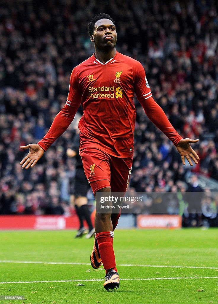 <a gi-track='captionPersonalityLinkClicked' href=/galleries/search?phrase=Daniel+Sturridge&family=editorial&specificpeople=677270 ng-click='$event.stopPropagation()'>Daniel Sturridge</a> of Liverpool celebrates his goal during the Barclays Premier League match between Liverpool and West Bromwich Albion at Anfield on October 26, 2013 in Liverpool, England.