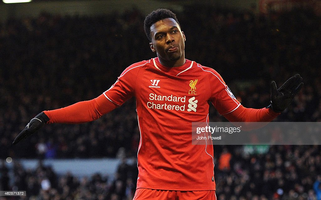 <a gi-track='captionPersonalityLinkClicked' href=/galleries/search?phrase=Daniel+Sturridge&family=editorial&specificpeople=677270 ng-click='$event.stopPropagation()'>Daniel Sturridge</a> of Liverpool celebrates his goal during the Barclays Premier League match between Liverpool and West Ham United at Anfield on January 31, 2015 in Liverpool, England.