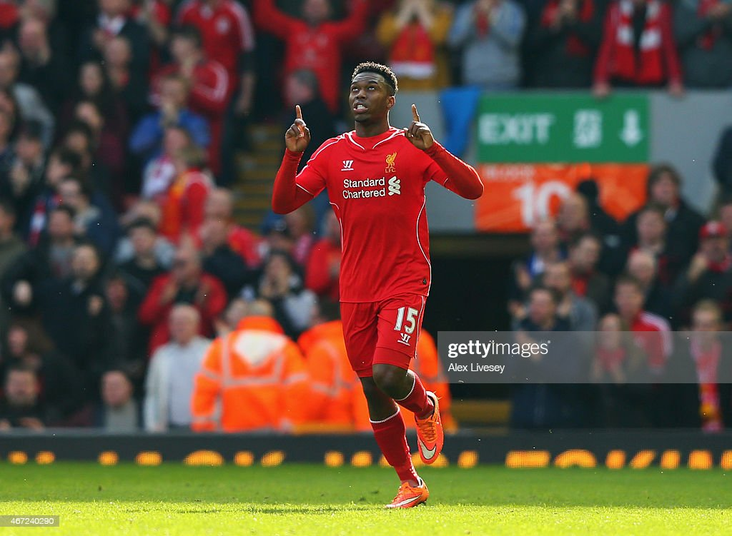 <a gi-track='captionPersonalityLinkClicked' href=/galleries/search?phrase=Daniel+Sturridge&family=editorial&specificpeople=677270 ng-click='$event.stopPropagation()'>Daniel Sturridge</a> of Liverpool celebrates his goal during the Barclays Premier League match between Liverpool and Manchester United at Anfield on March 22, 2015 in Liverpool, England.