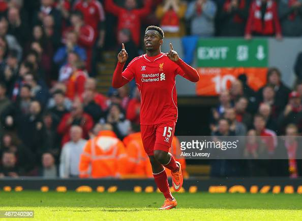 Daniel Sturridge of Liverpool celebrates his goal during the Barclays Premier League match between Liverpool and Manchester United at Anfield on...