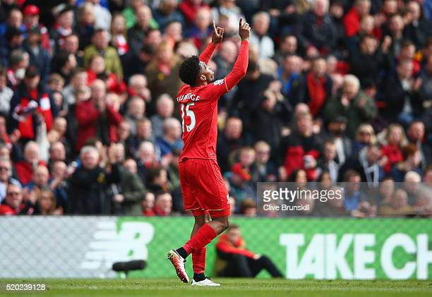 Daniel Sturridge of Liverpool celebrates scores their second goal during the Barclays Premier League match between Liverpool and Stoke City at...