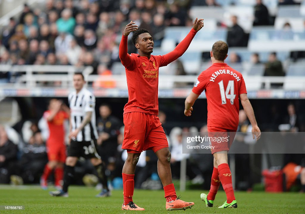 <a gi-track='captionPersonalityLinkClicked' href=/galleries/search?phrase=Daniel+Sturridge&family=editorial&specificpeople=677270 ng-click='$event.stopPropagation()'>Daniel Sturridge</a> of Liverpool celebrates scoring a goal during the Barclays Premier League match between Newcastle United and Liverpool at St James' Park on April 27, 2013 in Newcastle upon Tyne, England.