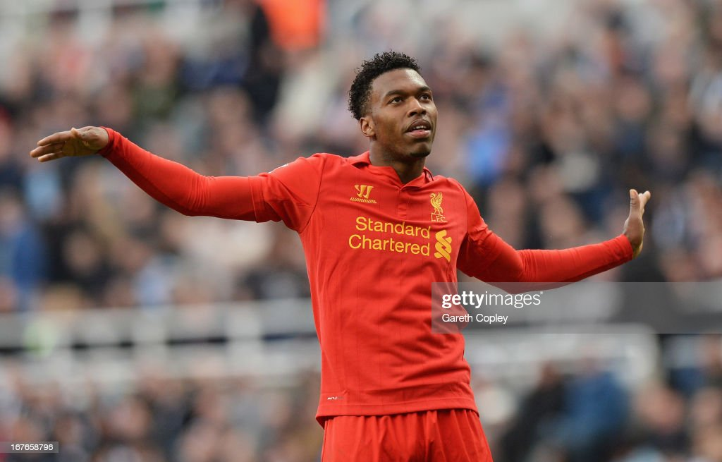 <a gi-track='captionPersonalityLinkClicked' href=/galleries/search?phrase=Daniel+Sturridge+-+Soccer+Player&family=editorial&specificpeople=677270 ng-click='$event.stopPropagation()'>Daniel Sturridge</a> of Liverpool celebrates scoring a goal during the Barclays Premier League match between Newcastle United and Liverpool at St James' Park on April 27, 2013 in Newcastle upon Tyne, England.