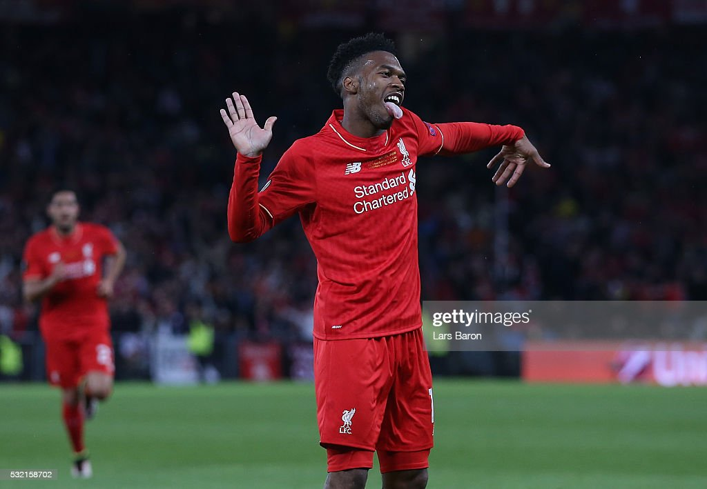 Daniel Sturridge of Liverpool celebrates scoring his team's first goal during the UEFA Europa League Final match between Liverpool and Sevilla at St...