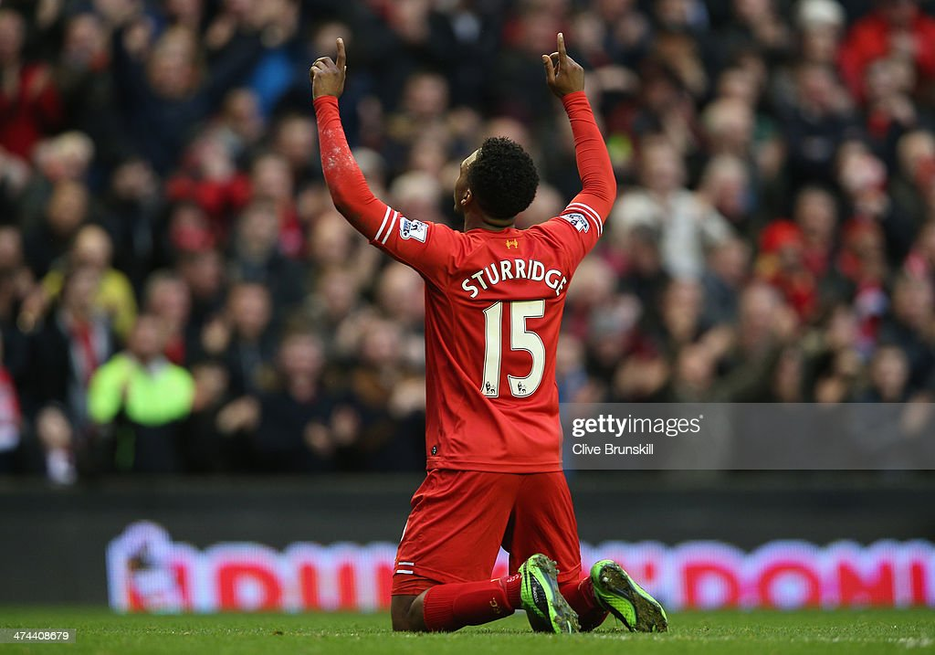 <a gi-track='captionPersonalityLinkClicked' href=/galleries/search?phrase=Daniel+Sturridge&family=editorial&specificpeople=677270 ng-click='$event.stopPropagation()'>Daniel Sturridge</a> of Liverpool celebrates scoring his team's third goal during the Barclays Premier League match between Liverpool and Swansea City at Anfield on February 23, 2014 in Liverpool, England.