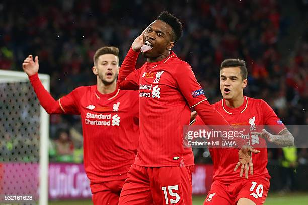 Daniel Sturridge of Liverpool celebrates scoring the first goal to make the score 10 during the UEFA Europa League Final between Liverpool and...