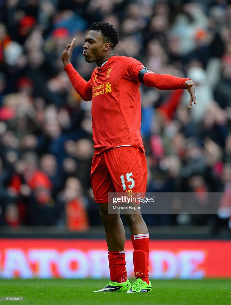 <a gi-track='captionPersonalityLinkClicked' href=/galleries/search?phrase=Daniel+Sturridge&family=editorial&specificpeople=677270 ng-click='$event.stopPropagation()'>Daniel Sturridge</a> of Liverpool celebrates scoring the fourth goal during the Barclays Premier League match between Liverpool and Arsenal at Anfield on February 8, 2014 in Liverpool, England.