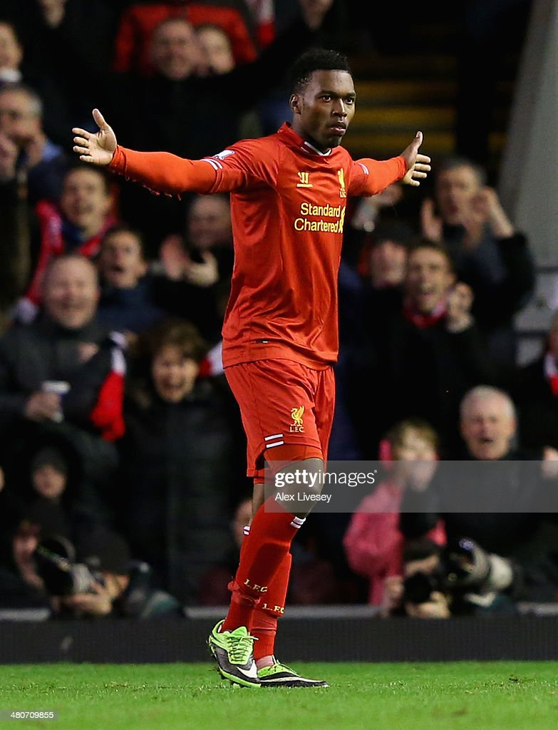 <a gi-track='captionPersonalityLinkClicked' href=/galleries/search?phrase=Daniel+Sturridge&family=editorial&specificpeople=677270 ng-click='$event.stopPropagation()'>Daniel Sturridge</a> of Liverpool celebrates scoring the second goal during the Barclays Premier League match between Liverpool and Sunderland at Anfield on March 26, 2014 in Liverpool, England.