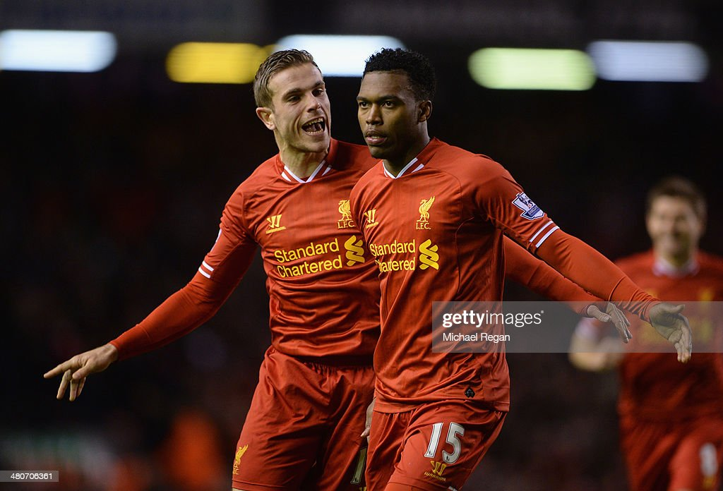 <a gi-track='captionPersonalityLinkClicked' href=/galleries/search?phrase=Daniel+Sturridge+-+Soccer+Player&family=editorial&specificpeople=677270 ng-click='$event.stopPropagation()'>Daniel Sturridge</a> of Liverpool celebrates scoring the second goal with team-mate <a gi-track='captionPersonalityLinkClicked' href=/galleries/search?phrase=Jordan+Henderson+-+Soccer+Player&family=editorial&specificpeople=4940390 ng-click='$event.stopPropagation()'>Jordan Henderson</a> (l) during the Barclays Premier League match between Liverpool and Sunderland at Anfield on March 26, 2014 in Liverpool, England.