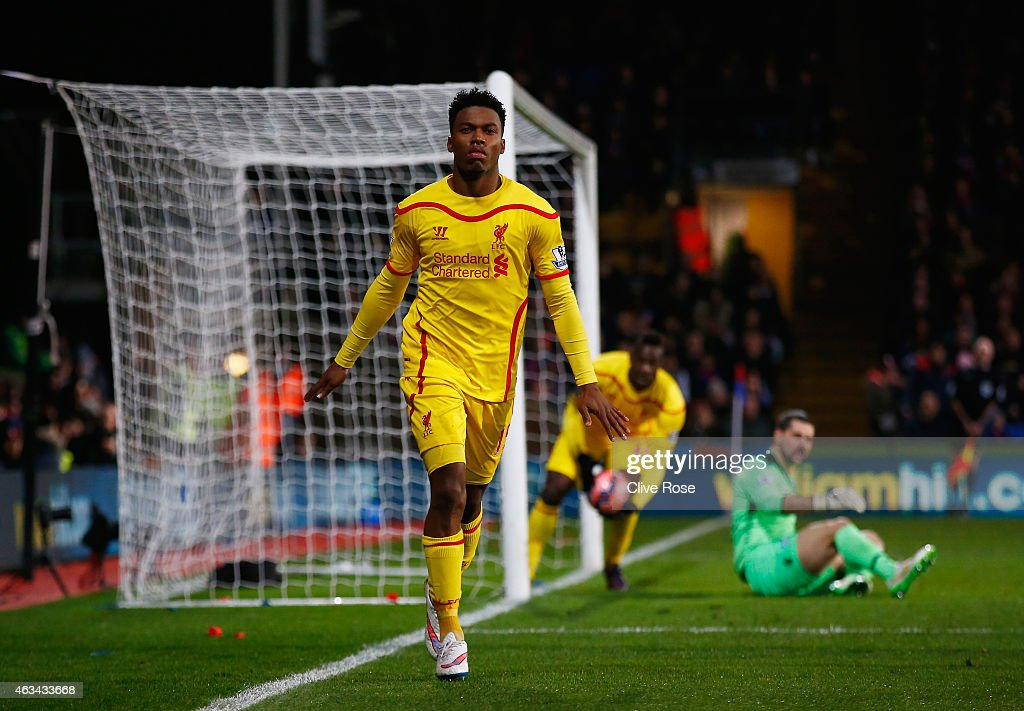 <a gi-track='captionPersonalityLinkClicked' href=/galleries/search?phrase=Daniel+Sturridge&family=editorial&specificpeople=677270 ng-click='$event.stopPropagation()'>Daniel Sturridge</a> of Liverpool celebrates scoring their first goal during the FA Cup fifth round match between Crystal Palace and Liverpool at Selhurst Park on February 14, 2015 in London, England.
