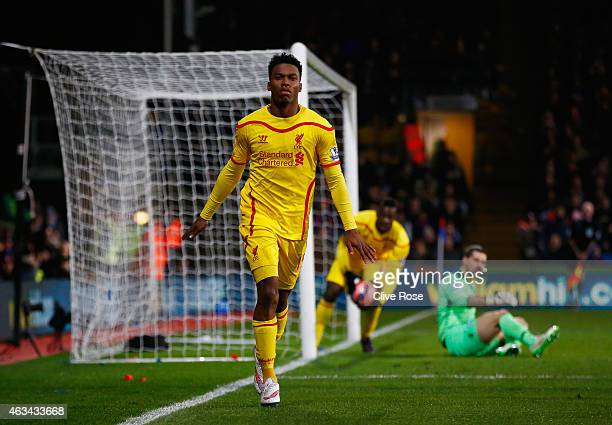 Daniel Sturridge of Liverpool celebrates scoring their first goal during the FA Cup fifth round match between Crystal Palace and Liverpool at...
