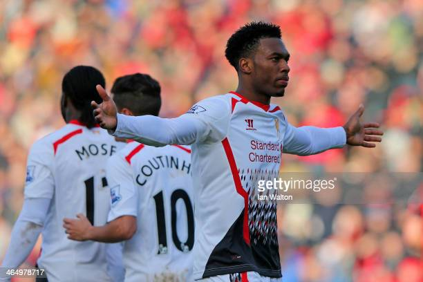 Daniel Sturridge of Liverpool celebrates scoring their second goal during the FA Cup Fourth Round match between Bournemouth and Liverpool at...