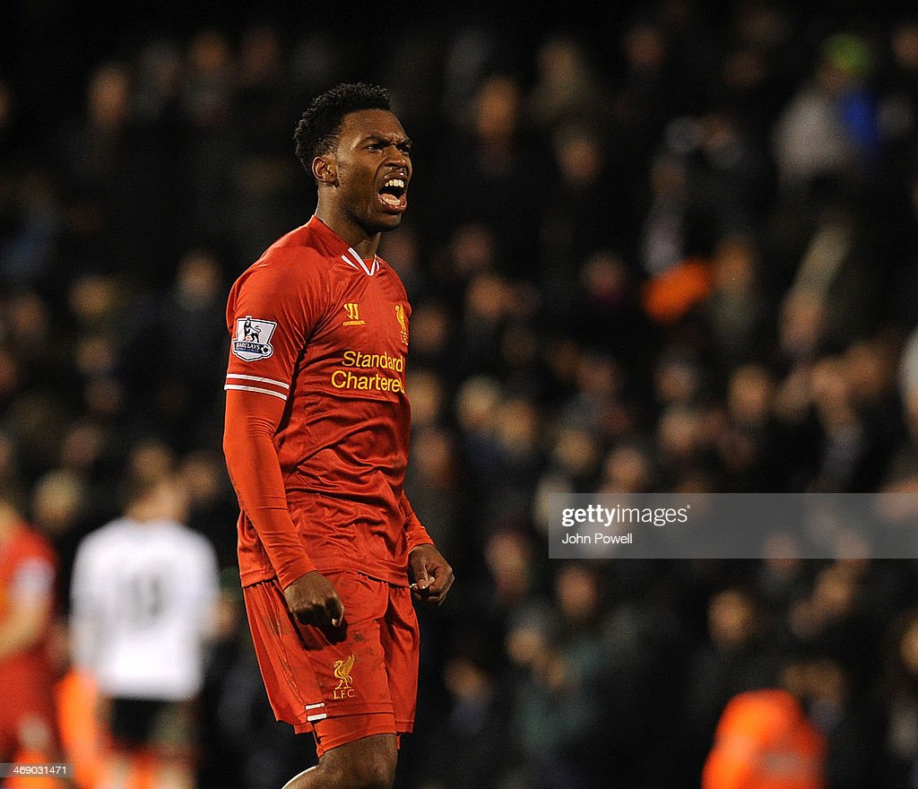 <a gi-track='captionPersonalityLinkClicked' href=/galleries/search?phrase=Daniel+Sturridge&family=editorial&specificpeople=677270 ng-click='$event.stopPropagation()'>Daniel Sturridge</a> of Liverpool celebrates the win at the end of the Barclays Premier Leauge match between Fulham and Liverpool at Craven Cottage on February 12, 2014 in London, England.