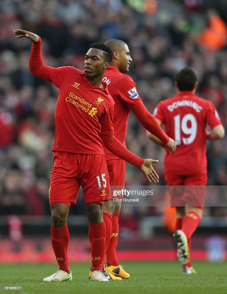 <a gi-track='captionPersonalityLinkClicked' href=/galleries/search?phrase=Daniel+Sturridge+-+Soccer+Player&family=editorial&specificpeople=677270 ng-click='$event.stopPropagation()'>Daniel Sturridge</a> of Liverpool celebrates with a dance after scoring the fifth goal from the penalty spot during the Barclays Premier League match between Liverpool and Swansea City at Anfield on February 17, 2013 in Liverpool, England.