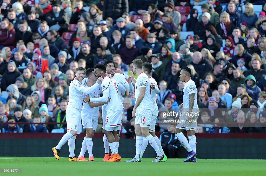 Daniel Sturridge of Liverpool celebrates with his team-mates after scoring a goal to make it 0-1 during the Barclays Premier League match between Aston Villa and Liverpool at Villa Park on February 14, 2016 in Birmingham, England.