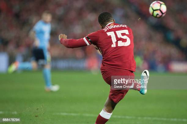 Daniel Sturridge of Liverpool clears the ball during the International Friendly match between Sydney FC and Liverpool FC at ANZ Stadium on May 24...