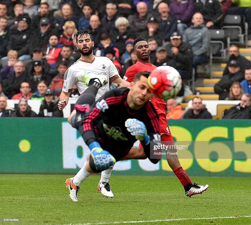 <a gi-track='captionPersonalityLinkClicked' href=/galleries/search?phrase=Daniel+Sturridge&family=editorial&specificpeople=677270 ng-click='$event.stopPropagation()'>Daniel Sturridge</a> of Liverpool comes close to scoring during a Premier League match between Swansea City and Liverpool at the Liberty Stadium on May 01, 2016 in Swansea, Wales.