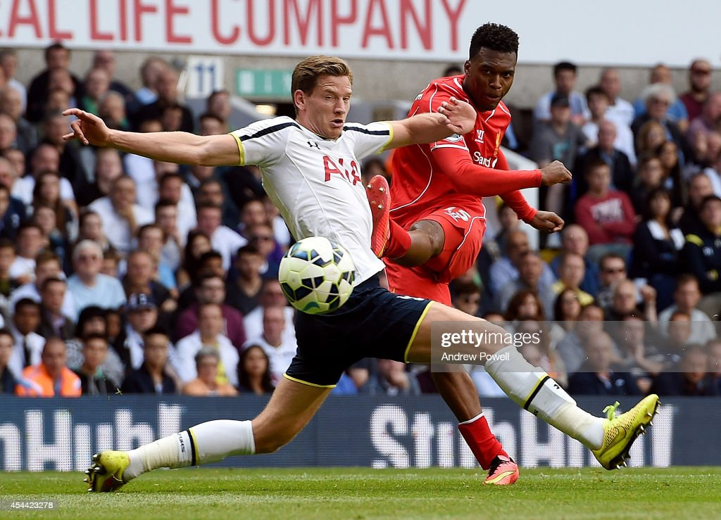 Daniel Sturridge of Liverpool comes close with a shot during the Barclays Premier League match between Tottenham Hotspur and Liverpool at White Hart Lane on August 31, 2014 in London, England.
