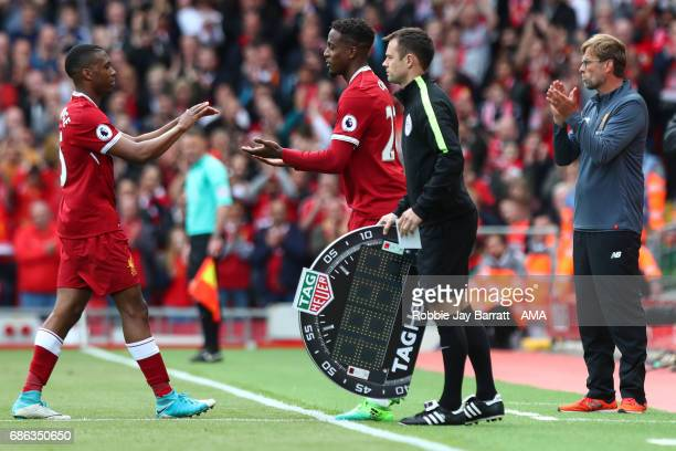 Daniel Sturridge of Liverpool comes off during the Premier League match between Liverpool and Middlesbrough at Anfield on May 21 2017 in Liverpool...