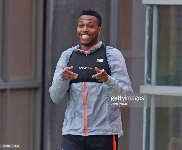 Daniel Sturridge of Liverpool during a training session at Melwood Training Ground on April 6 2017 in Liverpool England