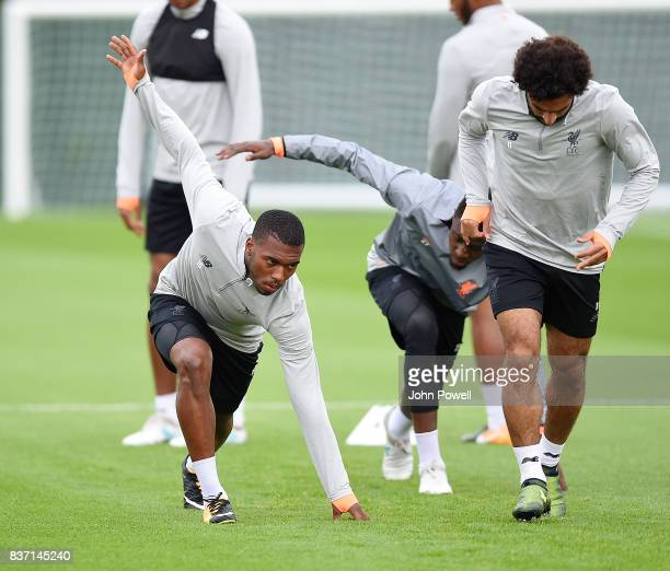 Daniel Sturridge of Liverpool during a training session at Melwood training ground on August 22 2017 in Liverpool England