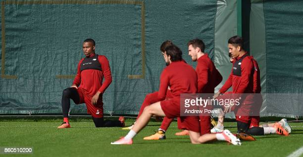 Daniel Sturridge of Liverpool during a training session at Melwood Training Ground on October 12 2017 in Liverpool England