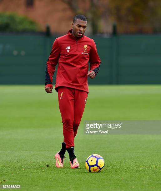 Daniel Sturridge of Liverpool during a training session at Melwood Training Ground on November 13 2017 in Liverpool England