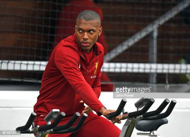 Daniel Sturridge of Liverpool during a training session at Melwood Training Ground on November 15 2017 in Liverpool England