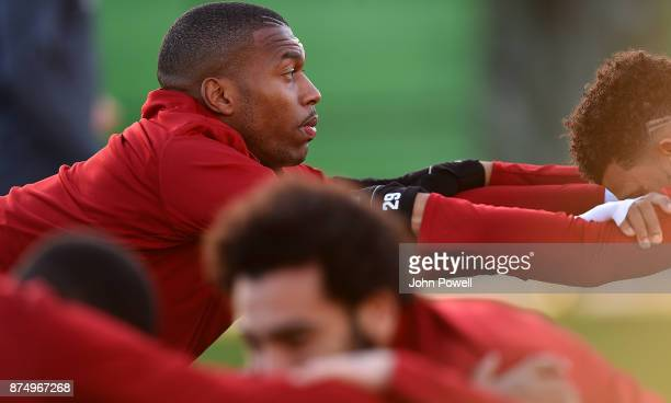 Daniel Sturridge of Liverpool during a training session at Melwood Training Ground on November 16 2017 in Liverpool England