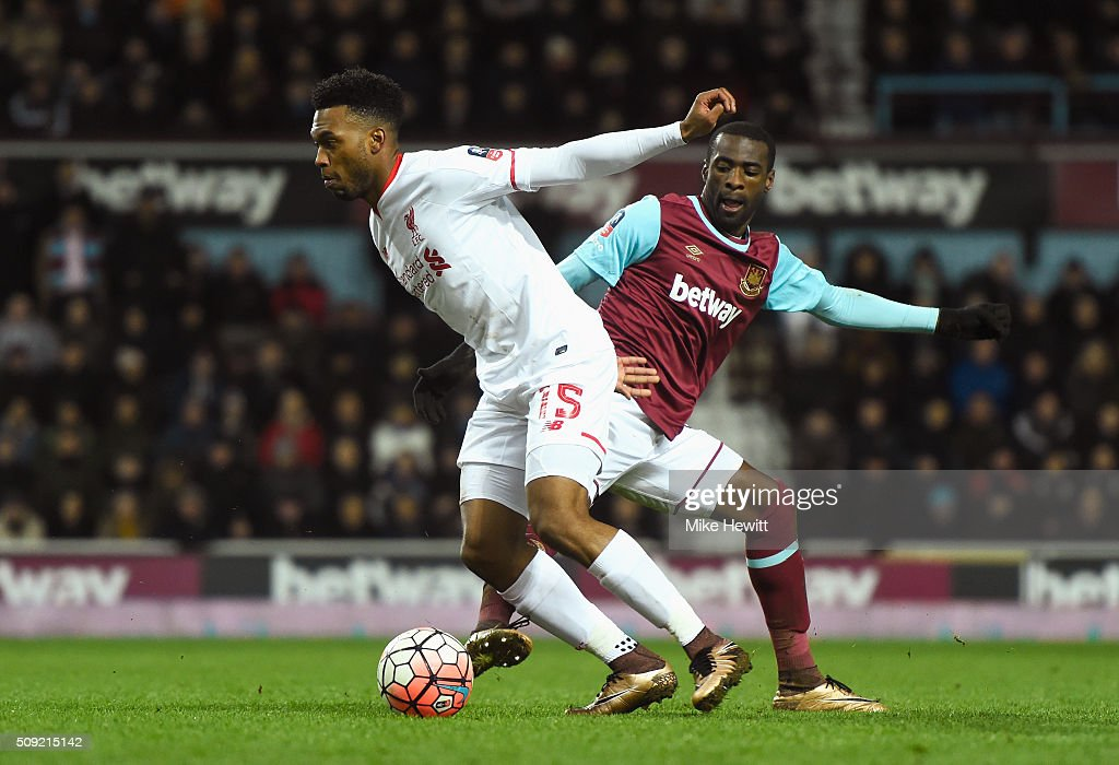 <a gi-track='captionPersonalityLinkClicked' href=/galleries/search?phrase=Daniel+Sturridge&family=editorial&specificpeople=677270 ng-click='$event.stopPropagation()'>Daniel Sturridge</a> of Liverpool evades Pedro Mba Obiang of West Ham United during the Emirates FA Cup Fourth Round Replay match between West Ham United and Liverpool at Boleyn Ground on February 9, 2016 in London, England.