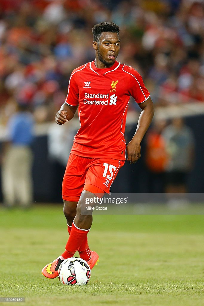 <a gi-track='captionPersonalityLinkClicked' href=/galleries/search?phrase=Daniel+Sturridge&family=editorial&specificpeople=677270 ng-click='$event.stopPropagation()'>Daniel Sturridge</a> #15 of Liverpool in action against Manchester City during the International Champions Cup 2014 at Yankee Stadium on July 30, 2014 in the Bronx borough of New York City.