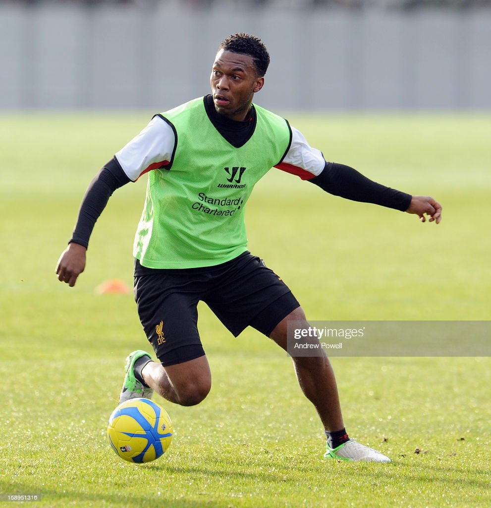 <a gi-track='captionPersonalityLinkClicked' href=/galleries/search?phrase=Daniel+Sturridge&family=editorial&specificpeople=677270 ng-click='$event.stopPropagation()'>Daniel Sturridge</a> of Liverpool in action during a training session at Melwood Training Ground on January 4, 2013 in Liverpool, England.