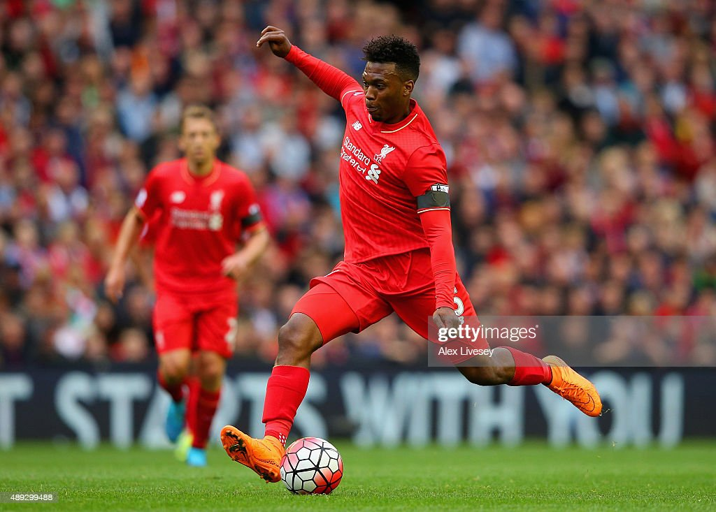 <a gi-track='captionPersonalityLinkClicked' href=/galleries/search?phrase=Daniel+Sturridge&family=editorial&specificpeople=677270 ng-click='$event.stopPropagation()'>Daniel Sturridge</a> of Liverpool in action during the Barclays Premier League match between Liverpool and Norwich City at Anfield on September 20, 2015 in Liverpool, United Kingdom.