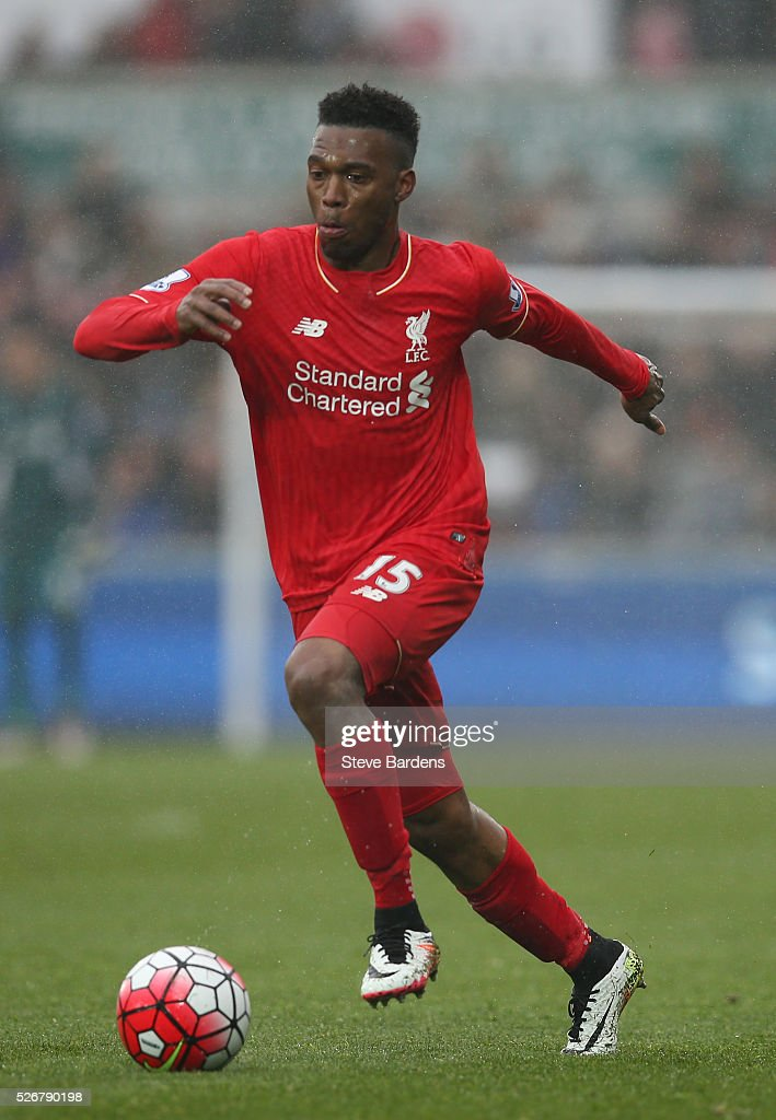 <a gi-track='captionPersonalityLinkClicked' href=/galleries/search?phrase=Daniel+Sturridge&family=editorial&specificpeople=677270 ng-click='$event.stopPropagation()'>Daniel Sturridge</a> of Liverpool in action during the Barclays Premier League match between Swansea City and Liverpool at The Liberty Stadium on May 1, 2016 in Swansea, Wales.