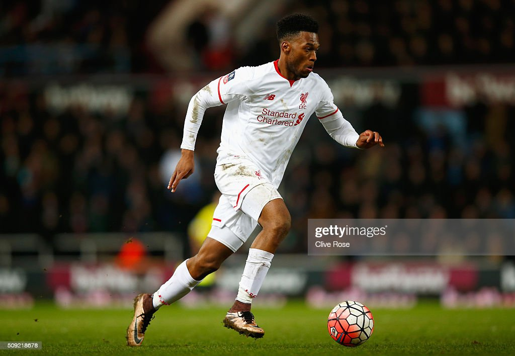 <a gi-track='captionPersonalityLinkClicked' href=/galleries/search?phrase=Daniel+Sturridge&family=editorial&specificpeople=677270 ng-click='$event.stopPropagation()'>Daniel Sturridge</a> of Liverpool in action during the Emirates FA Cup Fourth Round Replay match between West Ham United and Liverpool at Boleyn Ground on February 9, 2016 in London, England.