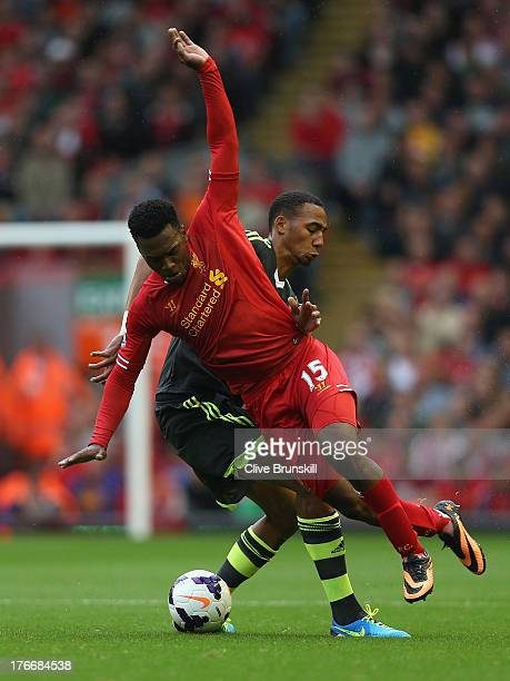 Daniel Sturridge of Liverpool in action with Steven N'Zonzi of Stoke City during the Barclays Premier League match between Liverpool and Stoke City...